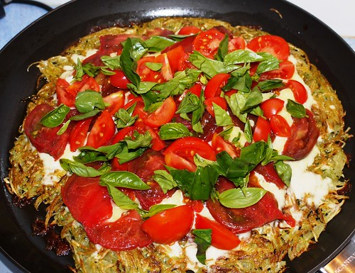 Rosti with Tomatoes, Basil, and Mozarella