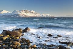 Bakkejord View (Reed Ingram Weir) Tags: longexposure sea mountain norway 35mm rocks view wave arctic fjord f2 troms polariser ziess bakkejord canon5dii reedingramweir riwp