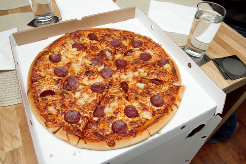 Pizza with pepperoni and stuff