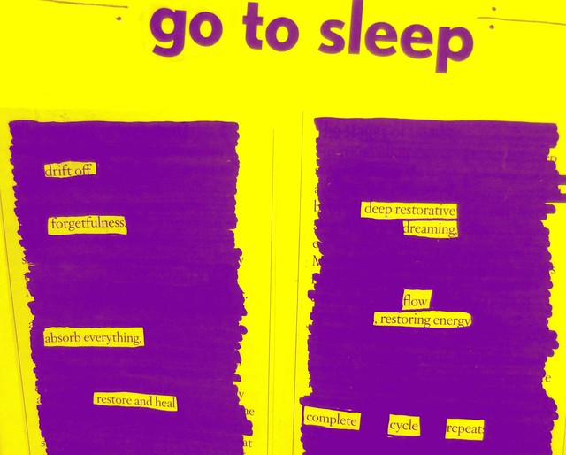 go to sleep blackout poetry