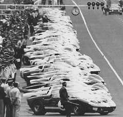 Lineup (tiger289 (The d'Arcy dog supporters club)) Tags: fordgt40 lemans winning runningstart brucemclaren chrisamon 1966 240mph mulsannestraight startinggrid v8 poweredbyford shelby fordv8 smallblockford ford ferrari battleofthegiants porsche renault renaultalpine lemans24heures lemans24hours history historicrace carracing legends monochrome blackandwhite stills moviestills