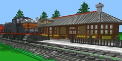 Palestine Scene (SavaTheAggie) Tags: railroad station electric train work texas lego state diesel palestine progress 7 wip trains scene depot rs2 diorama cad povray alco ldraw tsrr