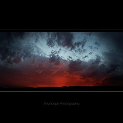 As Luck May Have It (rhyspope) Tags: pink light sunset red sky panorama orange sun color colour tree texture nature silhouette yellow photoshop sunrise canon landscape high pattern purple stitch bright native australia bluemountains photomerge aussie hawkesbury cs3 kurrajong 500d bej rhyspope