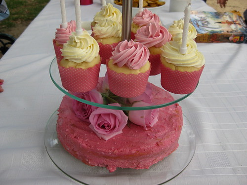 Naturally coloured cake and cupcakes