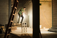 Under the Ladder (RyanLebel) Tags: chris 2 up him one this ebay shot background bricks over right spot pop fredericton homemade skateboard another behind ralph feeble triggers vivitar285s