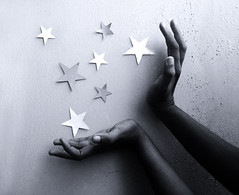 Practical magic.. (dream_maze) Tags: stars hands hand finger magic cybershot palm believe concept conceptual oldphotos makebelieve spells twinkles paperstars extendedpalm