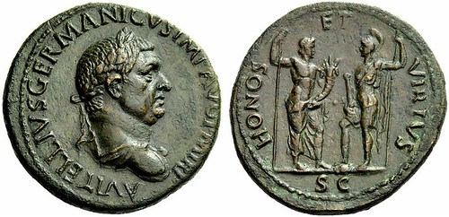 An Excessively Rare Roman Orichalcum Sestertius of Vitellius (69 C.E.), the Finest Known of this Issue