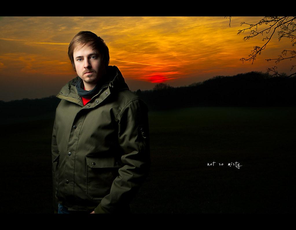 Project 365, Day 211, 211/365, Strobist, self-portrait, mist, sundawn, dusk, sky, golden, red, sunpak 120j, westcott umbrella, Canon EF 24-70 f2.8,