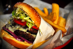 Monster Burger (Ian.Koppe) Tags: food cheese tomato yum beef frenchfries onions lettuce potato fries hamburger redrobin patty deliciousness