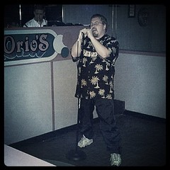 Me at thirty-five. Rocking out some karaoke with Pink Floyd. by ObieVIP
