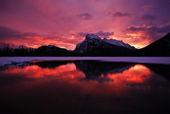 Vermilion Lakes Sunrise (Marko Stavric) Tags: park morning winter red mountain lake snow canada mountains reflection sunrise rockies nationalpark gallery purple cloudy lakes parks rocky ridge alberta banff rays sunrays rundle top20colorpix marchphotocontest