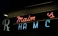 Maiman's Pharmacy (catasterist) Tags: nyc newyork sign brooklyn neon crownheights pharmacy drugs signage drugstore prescription easternparkway rx maimans