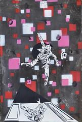 Acrophobia (id-iom) Tags: door uk man london fall graffiti stencil lift squares falling suit vandalism push slate brixton shaft acrophobia idiom