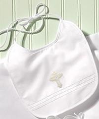 Victorian Cross White/Ecru Cotton Bib (Strasburg Children) Tags: babybooties christeninggown babybib babyblankets babybonnets diaperset heirloominfant wwwstrasburgchidrencom