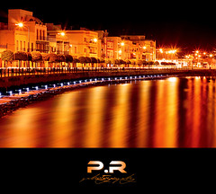 Drsena nocturna (Pablo  Ronald) Tags: trees houses espaa water yellow night lights luces noche spain agua rboles nightshot huelva amarillo casas seda reflejos reflects ayamonte drsena pabloronald