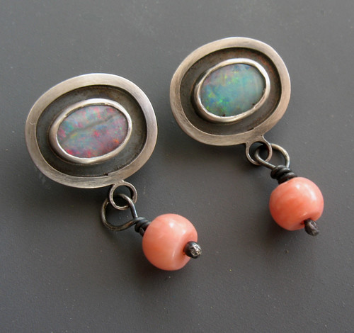 Boulder Opal and Coral Studs