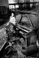 Railroad Tracks and an Organ - Norman 2043 (JLPhotoArt - Jeremy Lindstrom) Tags: ca musician music canada vintage keyboard bc surrealism traintracks surreal oldman retro newwestminster unplugged railroadtracks lowreyorgan