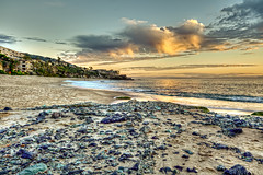 Rocky Sands (M. Daniels) Tags: ocean sunset sky beach clouds landscape sand rocks skies cliffs orangecounty hdr highdynamicrange lagunabeach