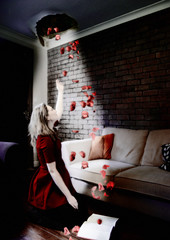 Letting in some light... (RipeFoto) Tags: redrose rosepetals conceptualphotography holeinceiling ripefoto ripephotography