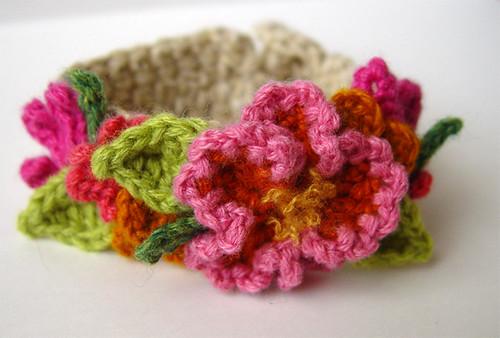Crochet Hot Pink and Orange Flowers Bracelet