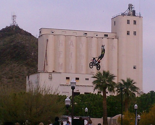 Motorcycles flying at CityFest in Tempe