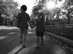 Taking a Stroll (Christopher Shaver Photography) Tags: street trees light sun white black kids sony tokina 28 a700 1116mm
