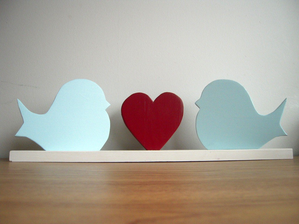 Wedding centerpiece decor love birds with heart