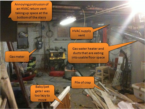 dirty basement with captions