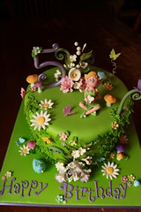 Fairy Cake (Andrea's SweetCakes) Tags: flowers bird butterflies fairy birthdaycake toadstools