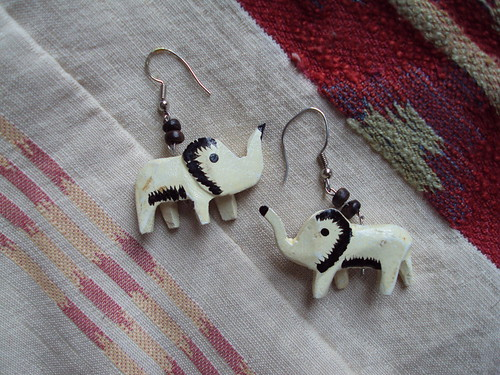 Wooden Elephant Earrings
