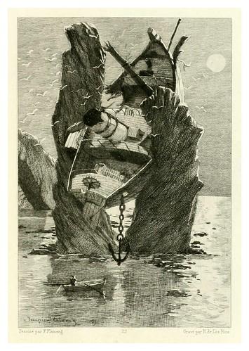 021-Los trabajadores del mar-Illustration des oeuvres complètes de Victor Hugo (Volume 2) 1885 - Flameng, François