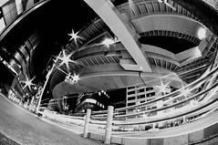 Curves of the Night (hidesax) Tags: light urban blackandwhite bw building night tokyo nikon stream cityscape crossing nightscape trails junction expressway elevated guardrail curved signal hatsudai     shibuyaku tokyometropolitanexpressway d5000 hidesax nikond5000 nishishinjukujunction tokinaatx107dxfisheye1017mmf3545if