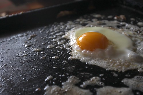 teaching how to make fried eggs