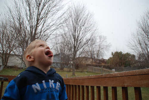 Trying to catch snowflakes on his tongue