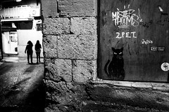 The Black Cat (_Blippo_) Tags: art streetphotography street door blackandwhite painting people shadows favara farmculturalpark agrigento wall writings silhouette