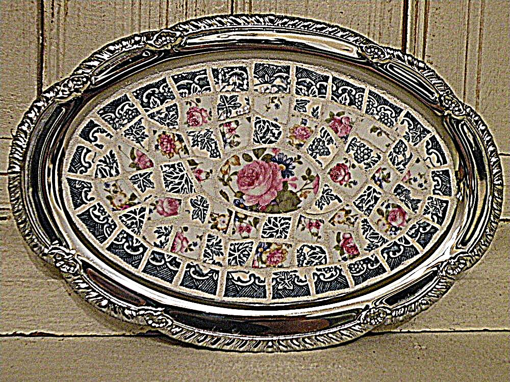 Floral mosaic silver serving tray