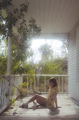 (yyellowbird) Tags: light house green abandoned girl leaves florida lolita porch cari glowy saddleshoes fortpierce
