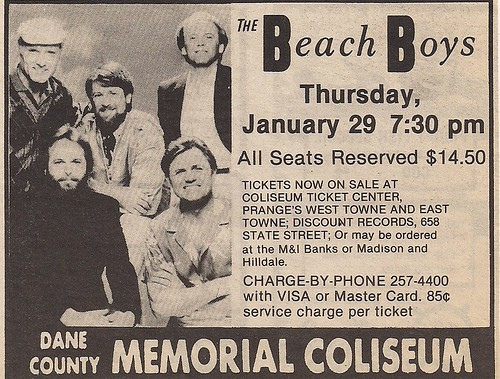 01/29/87 Beach Boys @ Madison, WI (ad)