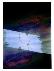 Windmills in Folded Space (Dead  Air) Tags: road trees sky washington holga windmills overexposed exposures centralwashington manipulatede easternwashinton