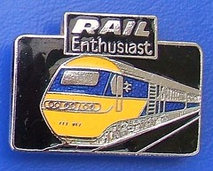 Rail Enthusiast magazine (HST 125) - promotional badge (1981 / 1982) (RETRO STU) Tags: rail britishrail hst diesellocomotives enamelbadge class43hst bauermedia intercity125highspeedtrain railenthusiastmagazine