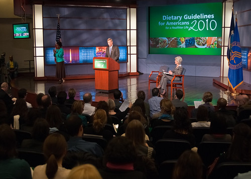 Agriculture Secretary Tom Vilsack and Health and Human Services Secretary Kathleen Sebelius (seated right) announced the release of the 2010 Dietary Guidelines for Americans in the George Washington University Jack Morton Auditorium, Monday, January 31 in Washington, DC. The Dietary Guidelines for Americans is the federal governments evidence-based nutritional guidance to promote health, reduce the risk of chronic diseases and reduce the prevalence of overweight and obesity through improved nutrition and physical activity.