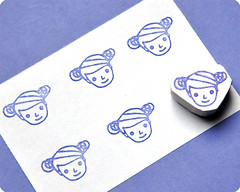 Lady hand carved rubber stamp