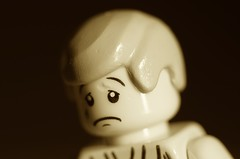 sad (Kalexanderson) Tags: bw sorry toy gloomy sad lego bored down tired disappointed depressed melancholy sick uneasy unhappy dejected annoyed tearful discouraged outofthemood