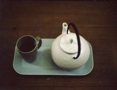 One half of the world cannot understand the pleasures of the other (*Cinnamon) Tags: cup tea teapot contax645 polaroidback atfriends fujifp100c nathiya