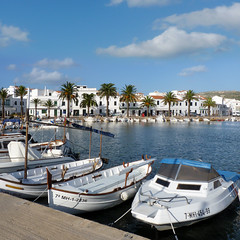 Fornells - the pearl of virginal north coast of Menorca (Bn) Tags: blue sea sky white sports beautiful port landscape boats island restaurant bay coast spain topf50 marine mediterranean fishermen wind harbour traditional north calm palmtrees harmony area waters pearl nautical shelter menorca pleasant authentic fornells reservation minorca norther crystalline balearic virginal 50faves topshots whitewashedhouses panoramafotogrfico theoriginalgoldseal geomenorca langoustin calderetadellagosta