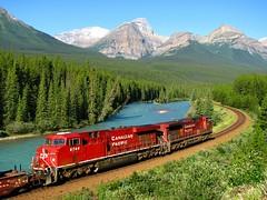 CP (galenburrows) Tags: sky mountain canada tree river railway alberta canadianpacific cp