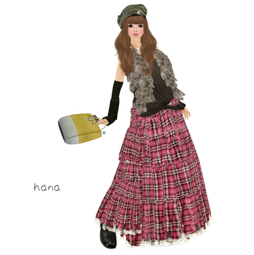 .:: M*G*S ::. Long Skirt check pink (LB)