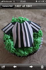 Soccer jersey! (Xquisite cakes) Tags: blackandwhite white black green southafrica yummy pretty chocolate soccer tshirt delicious cupcake 20 frosting chocolatecake chocolatecupcake fondant buttercream cuppy soccerjersey sugarpaste 2010worldcup cuppie ganche flowerpaste refereejersey refjersey