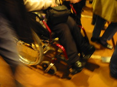 Notts Club Bilateral KAFOs Chair a 2006 (bracewatcher) Tags: wheelchair paralysed legbraces builtupshoe