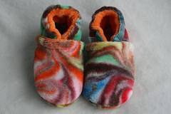 *Newborn* Chocolate Rainbow Organic Bamboo Velour Booties